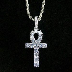 Jewelry - ANKH FULL DIAMONDS CZ 18K WHITE GOLD ROPE ITALY